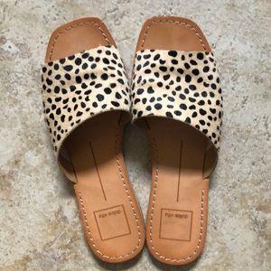 Dolce Vita leopard slip on flat sandals